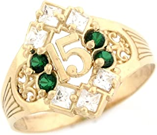 10k Yellow Gold Simulated Birthstone CZ Stylish Quinceanera 15 Anos Ring