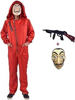 Mono de Ladrón de Banco para Carnaval,Disfraz de Ladrón Mono rojo de Manga Larga con Capucha,Conjunto de Cosplay Disfraces Máscara y ametralladora,Disfraz de Carnival Disfraz (Child-M-125-135)