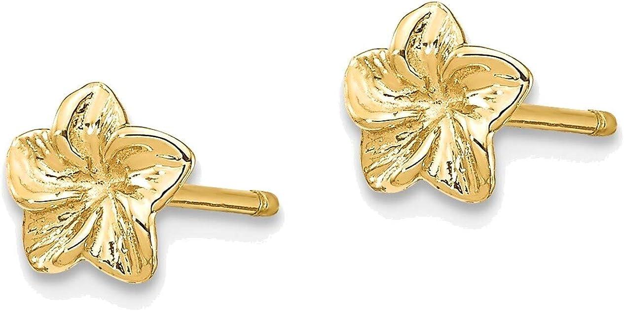 Plumeria Flower Post Earrings in 14K Yellow Gold