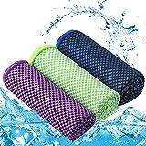 Zacro Asciugamano Raffreddamento,3pcs Asciugamani Sportivi per Il Ghiaccio,Asciugamani in Microfibra,Asciugatura Veloce,Adatto a Tutti i Tipi di attività Sportive,Campeggio,Viaggi o Regali