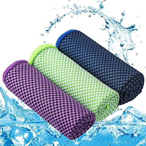 Zacro 3 Stück Kühlendes Handtuch/Kühltuch, Cooling Towel 40% Bambus Mikrofaser Weich Atmungsaktiv für Sportliche Aktivitäten, Sport,Yoga, Pilates