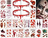Halloween Temporary Scar Tattoos(30 Sheets)& Blood Drop Necklace Choker (2 Pieces)