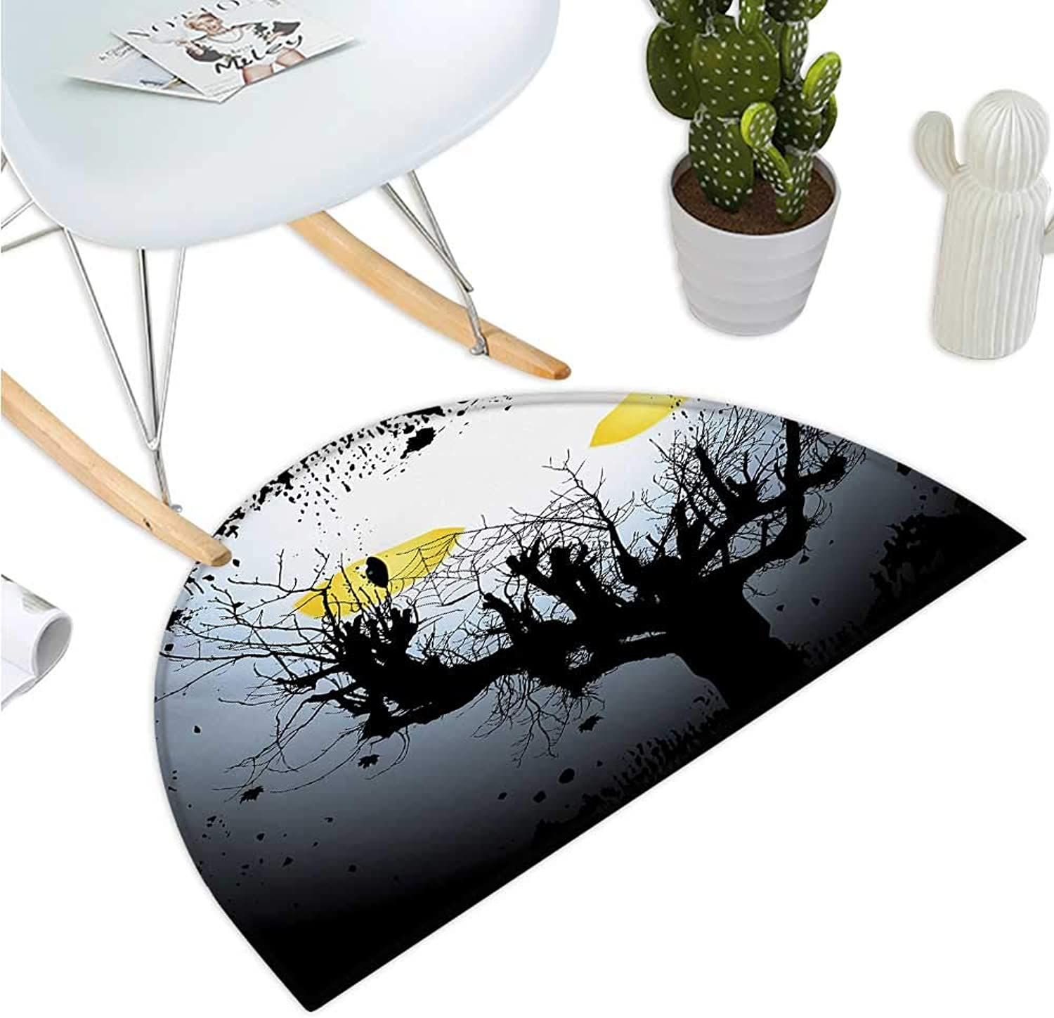 Horror House Semicircular Cushion Scary Eyes Backgrounded Leafless Old Branch Angry Hunt Cat Animal Creature Halfmoon doormats H 39.3  xD 59  Yellow Black