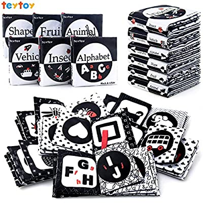 teytoy My First Soft Book, Nontoxic Fabric Baby Cloth Activity Crinkle Soft Black and White Books for Infants Boys and Girls Early Educational Toys Perfect for Baby Shower -Pack of 6 from teytoy