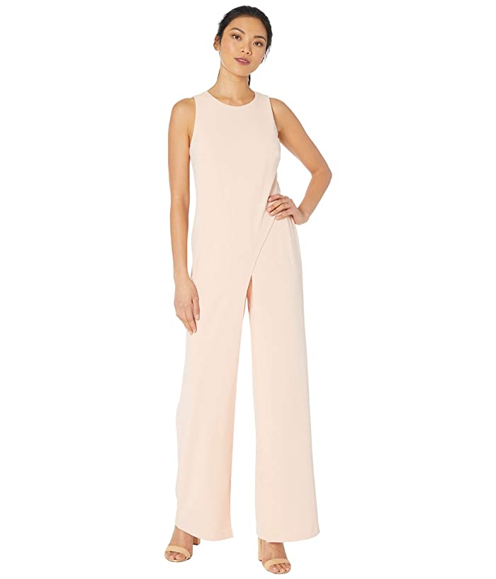 Adrianna Papell  Crepe Halter Jumpsuit with Overlay (Blush) Womens Jumpsuit and Rompers One Piece