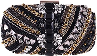 HUIfenghe Women's Beaded Crystal Rhinestone Hard Shell Banquet Clutch Europe and America Dress Evening Bag Chain Black/Brown Size: 19 * 5 * 8cm (Color : Black)