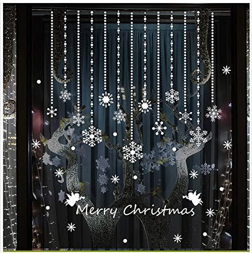 Pegatinas de pared decoración de Navidad campana abalorios cortina tienda ventana de...