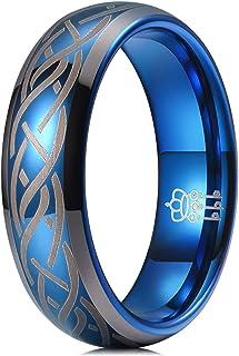 THREE KEYS JEWELRY 6mm 8mm Tungsten Titanium Wedding Ring Blue Laser Celtic Knot Engagement Band for Men Women