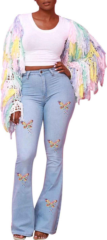 Flare Jeans for Women,Ladies Casual Skinny Stretch Butterfly Print Button Zipper Pocket Denim Wide Leg Slim Pants