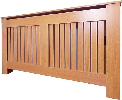 Oak X Large Jack Stonehouse Radiator Cover Modern Vertical Slat MDF Wood Cabinet