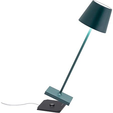 Zafferano Poldina Pro - Lampe de table LED à intensité variable en aluminium, Protection IP54, Utilisation intérieure/extérieure, Base de chargement par contact, H38cm, Prise UE - Vert foncé