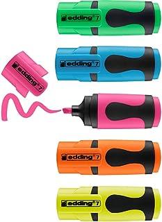 edding 7 mini highlighter - neon-kleuren - 5 highlightermarkers - beitelpunt 1-3 mm - highlighter klein in trendy kleuren...