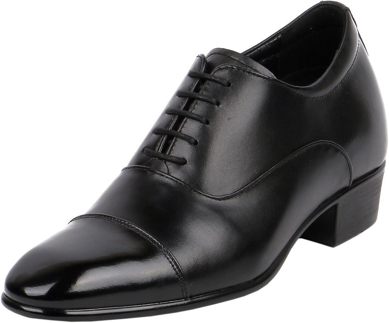 Men High Heel Dress shoes 3 Inch Height Taller Leather Black Cap Toe-JW503
