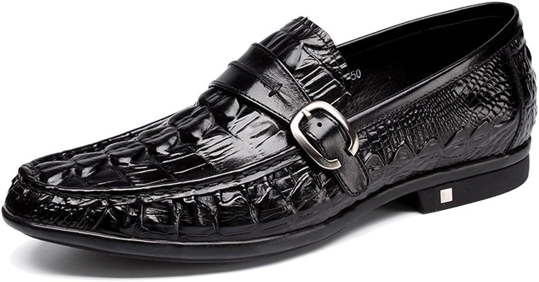 MEbox Mens Alligator Crocodile Print Oxfords Loafers Side Buckle Dress shoes