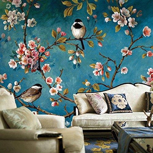 The New Blue Bird Yulan Tapete, für Schlafzimmer, Wohnzimmer, TV-Hintergrund, Blumenmalerei, Wandmalerei eines quadratischen Deckes, 30 m², Stickerei, deutsches Anaglyphenpapier