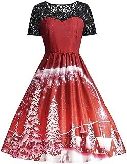 LeaLac Women's Vintage Christmas Santa Print High Waist Plus Size Party Swing Dress