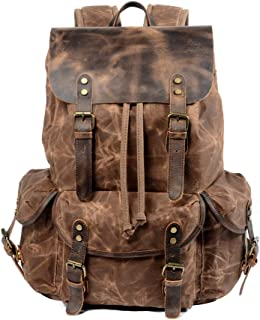 WUDON Leather Backpack for Men, Waxed Canvas Shoulder Rucksack for Travel School