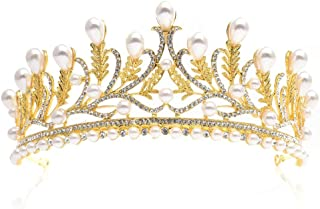 TnSok Diadema da Sposa con Perle Sintetiche e Foglie di Cristallo, da Donna, per Matrimonio, Gioielli da Sposa, Lega, Arge...