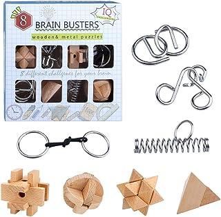 yidenguk 8 Pièces 3D Puzzle en Bois et Casse-tête métallique Wire Set, Jeux de Puzzle en Bois à Verrouillage 3D, Jouet de ...