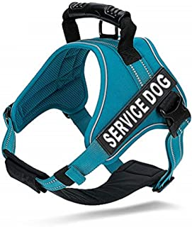 Chai's Choice Service Dog Vest Harness Best 2 Reflective Service Dog Patches and Sturdy Handle. Matching Padded 3M Reflective Leash Available