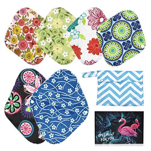 YueTech 6 Stks Herbruikbare Sanitaire Pads-Wasbare Doek Menstrual Pads/Panty Liners voor Vrouwen met Opbergtas Sanitaire Handdoek/Pad Bamboe Menstrual Pads Postpartum Nursing Pads