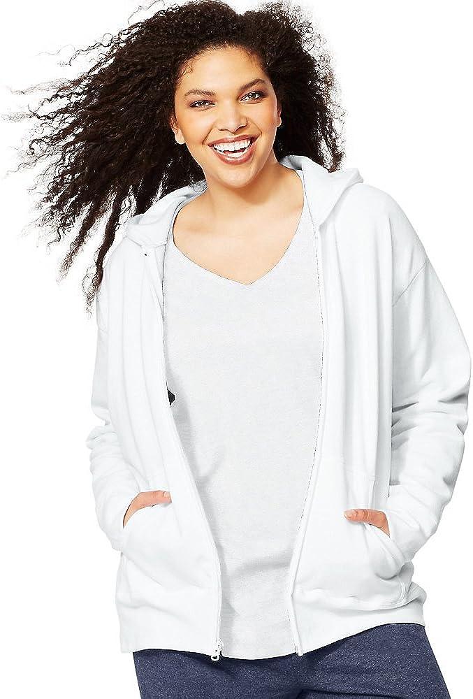 Just My Size by ComfortSoft EcoSmart Fleece Full-Zip Women's Hoodie_White_2X