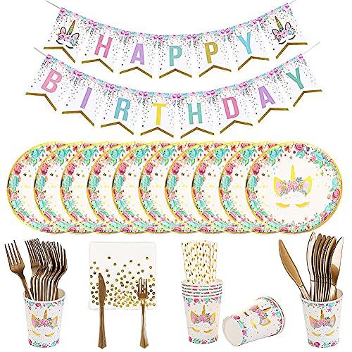 86 Piezas vajilla para fiestas de cumpleaños de unicornio, Accesorio de Decoración Fiesta de...