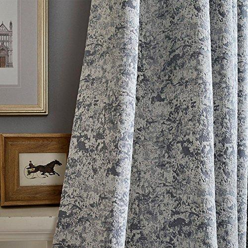 Rideaux et drapés en chenille gris jacquard pour fenêtres - 2 panneaux - 250 x 270 cm