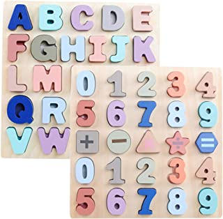 GEMEM Wooden Puzzles for Toddlers, Alphabet ABC Upper Case Letter and Number Wood Montessori Learning Board Educational Toys for Boys Girls Set of 2