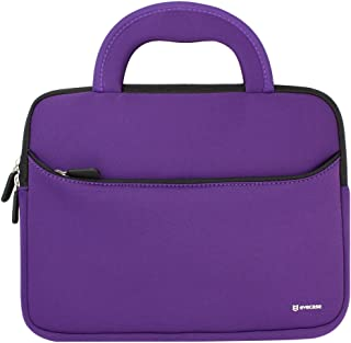 8.9-10.1 inch Tablet Sleeve, Evecase 8.9~10.1 inch Ultra-Portable Neoprene Zipper Carrying Sleeve Case Bag with Accessory Pocket - Purple/Black for Kids Tablets