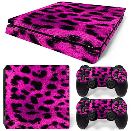 Sony PS4 Playstation 4 Slim Skin Design Foils Aufkleber Schutzfolie Set - Pink Leopard Motiv