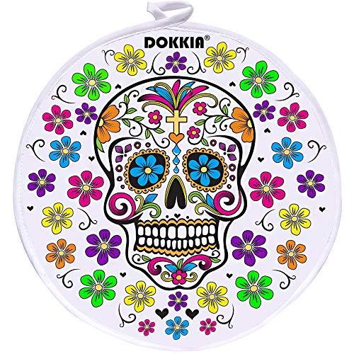 DOKKIA Tortilla-Wärmer Taco 30,5 cm isolierter Stoffbeutel – mikrowellengeeignet, um Lebensmittel warm zu halten (30,5 cm, Karnevals-Party, Zuckerschädel, floraler Tag der Toten)