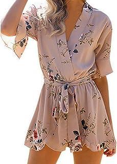 57b58210bf7 Cuekondy Women Summer Casual Floral Printed Short Romper Jumpsuit Beach  Chiffon Playsuit (Khaki