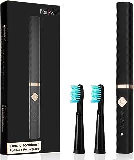 電動歯ブラシ 歯ブラシ Fairywill 音波歯ブラシ 通勤用 充電式 ブラック ソニック IPX5防水 3モード 2分オートタイマー USB充電 替えブラシ2本 携帯 旅行用 歯磨き FW-515