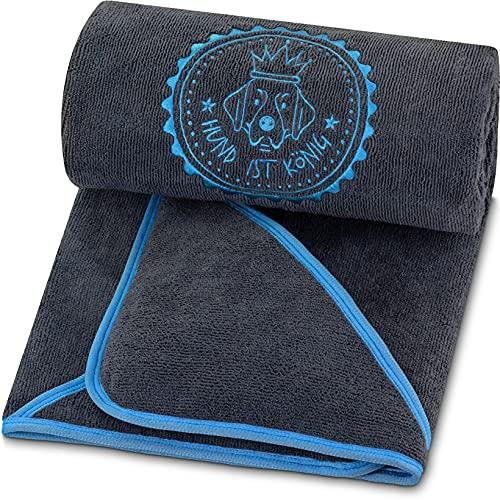 HUND IST KÖNIG® Hundehandtuch extra saugfähig - Hunde Handtuch saugstark aus Mikrofaser mit 4 Eingriffen - Weiches XL Microfaser Handtuch für Hunde - Premium Hunde Trockentuch, schnell trocknend