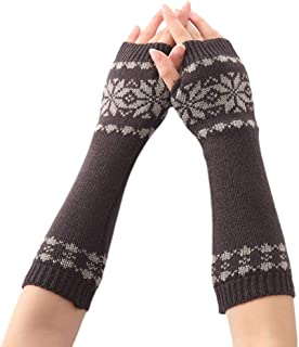 Women Men Unisex Snowflake Pattern Jacquard Fingerless Gloves Winter Crochet Knit Arm Warmers Mittens with Thumbhole Gift with Dark gray