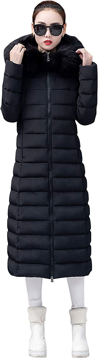 ebossy Women's Full Zip Hooded Quilted Padded Long Puffer Coat Winter Outerwear