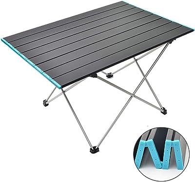 Big TOPINCN Tavolo da Campeggio Pieghevole in Lega di Alluminio Banco da Pesca per Picnic da Giardino per Esterni con Borsa per Il Trasporto