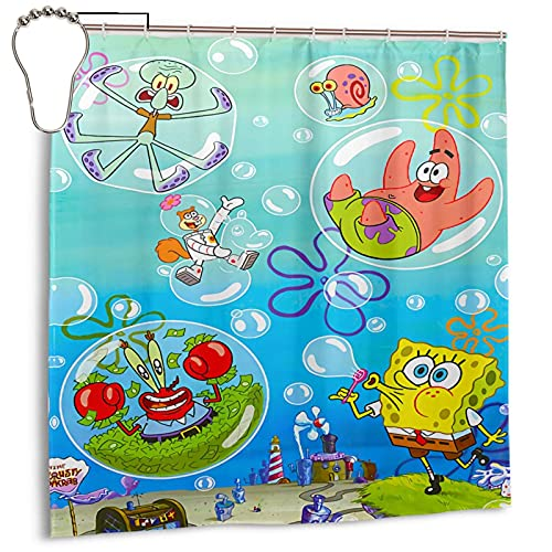Spongebob Bath Curtain Patrick Star Bath Shower Curtains Fabric Waterproof Shower Curtain 7272 inches in Bathroom with 12 Hooks and Metal buttonholes