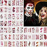 Jinhuaxin Halloween Cicatrices Tatuajes, 60 hojas de diferentes patrones de tatuajes temporales de Halloween, Pegatina Tatuaje de sangre falsa de vampiro de terror, Maquillaje Halloween adultos niños