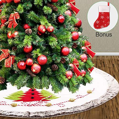 AceLife Weihnachtsbaumdecke 122cm Weihnachtsbaum Rock Weiß Matte Filz Tannenbaumdecke Schneemann Christbaumständer Teppich Rund Bodendeko Weihnachtsdecke Weihnachtsdekoration