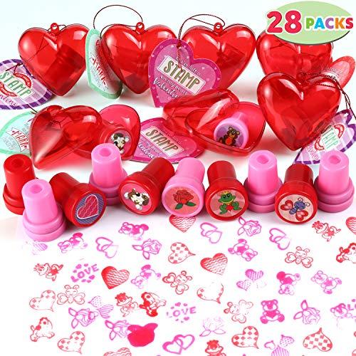 For Sale! 28 Packs Kids Valentine Stampers Set includes 28 Valentine's Day Stampers Filled Hearts ...