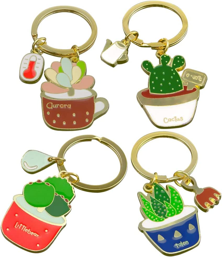 PRETYZOOM 4PCS Cactus Keychain Succulent Keychains Creative Keyring Key Holder Tropical Party Favor Gift Charm Keychain for Car Handbang Backpack