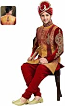 Fashions Trendz Incredible Red Color Sherwani in Velvet Fabric 64248