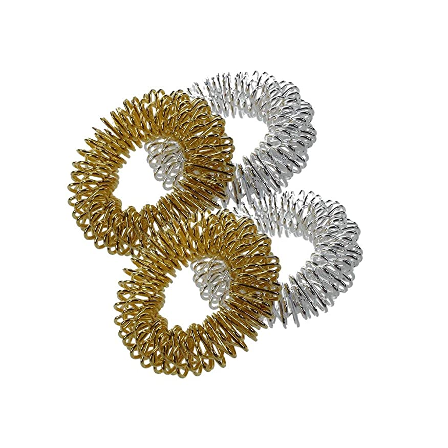 1st?market 指圧マッサージリング - 4本薬指圧マッサージリングシルバー+ゴールデン高品質