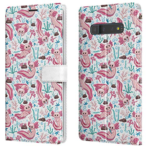 Lex Altern Wallet Case Compatible with Samsung Galaxy Note 20 Ultra 5G S20 S10 Plus S9 8 A71 A70 A50 A21 Cartoon Axolotl Cute Kawaii Folio Slim Pink Magnetic Sea PU Leather Ocean Animal walh045