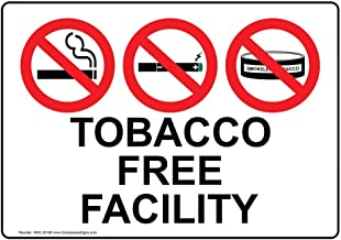 Tobacco Free Facility Label Decal, 7x5 in. Vinyl for No Smoking by ComplianceSigns