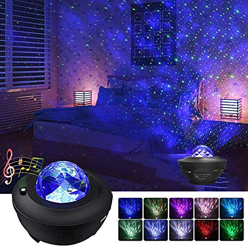 Star Projector Lamp - Night Light Bluetooth Speaker with Remote Control and Timer,Ocean Wave Projector Music Starry Projector Best Gifts for Kids Adults Wedding Party Birthday Home Decoration