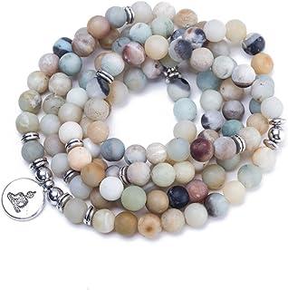 AOASK 8mm Mala Amazonite 108 Beads Necklace Yoga Buddhist Rosary Prayer Charm Bracelet
