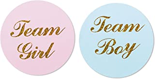 """MAGJUCHE 80-Pack, 2"""" Gold Gender Reveal Stickers, Team boy and Team Girl Baby Shower Sticker Labels"""